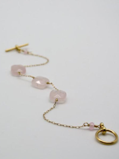 cushion cut bracelet in rose quartz by vivien walsh