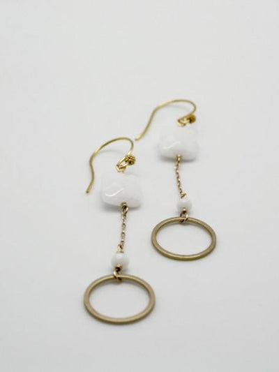 matte gold circle earrings with white jasper stones