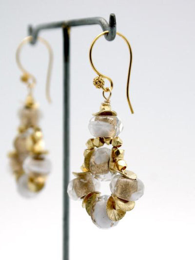 white and gold glass bead earrings by vivien walsh