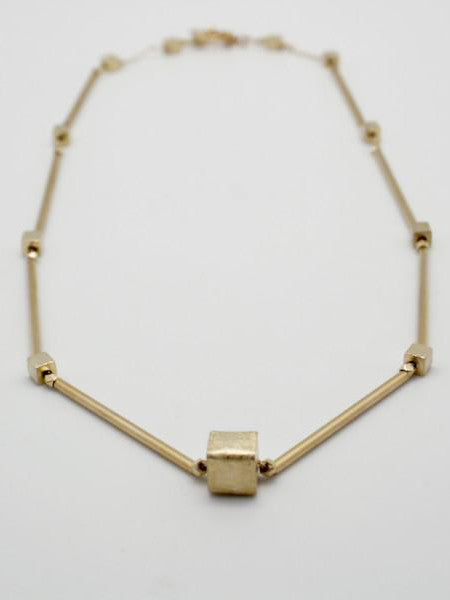 matte gold tube collar, handmade vivien walsh jewellery