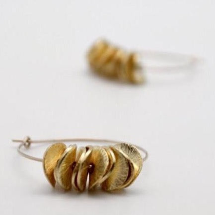 gold filled hoop earrings with petals, vivien walsh
