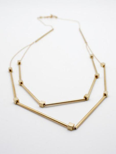 gold double necklace with gold tubes, vivien walsh