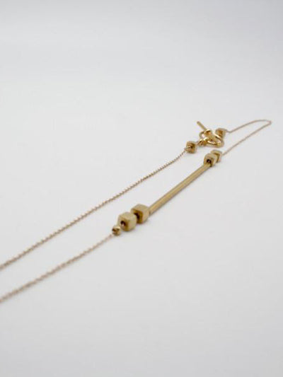 matte gold minimalist tube necklace, vivien walsh