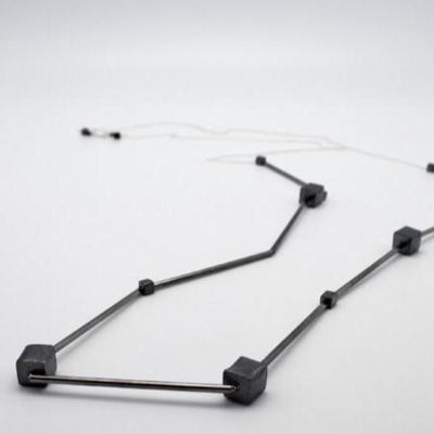 gunmetal long necklace on sterling silver chain, vivien walsh,dublin