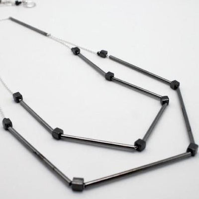 gunmetal double necklace on sterling silver chain vivien walsh