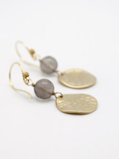 grey agate earrings with matte gold hammered discs
