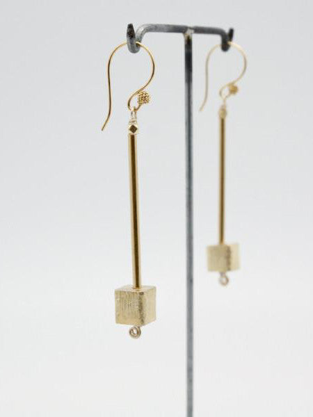 matte gold long tube earrings handmade at vivien walsh