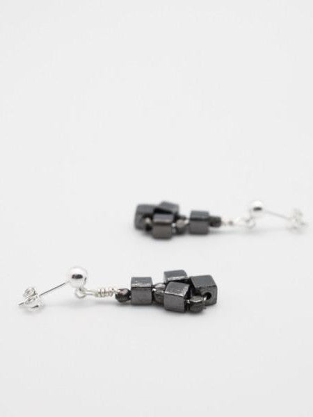 gunmetal cube earrings on posts by vivien walsh dublin