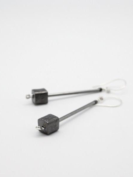 gunmetal long tube earrings with cube end,vivien walsh, handmade