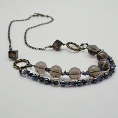 smokey quartz and iolite double row necklace by vivien walsh