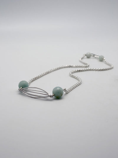 cocoon necklace in silver with amazonite stones by vivien walsh