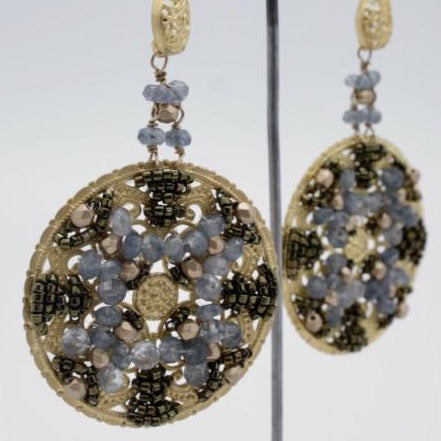 matte gold filigree disc earrings embellished with beads by vivien walsh