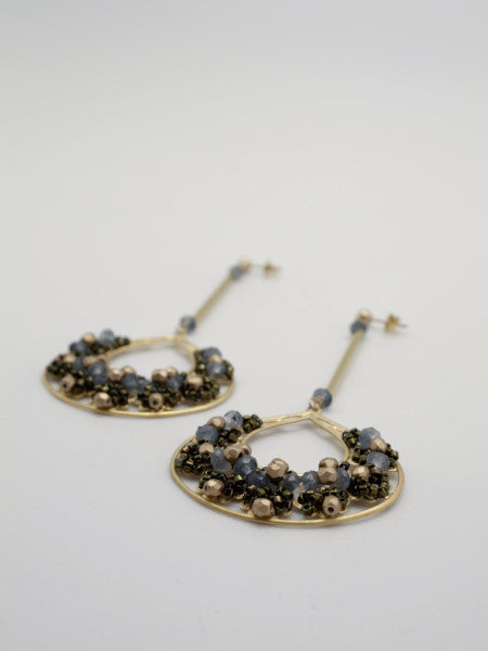 embellished matte gold filigree creole earrings by vivien walsh