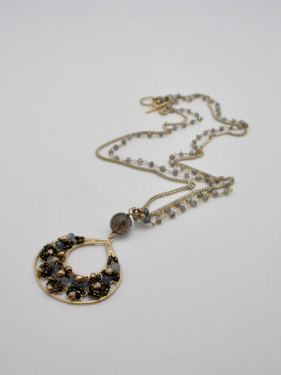 embellished creole filigree pendant on mystic labradorite beaded + gold curb chain by vivien walsh