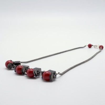 cubes necklace red + gunmetal by vivien walsh
