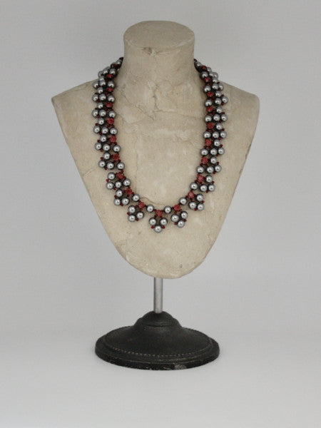 steel grey pearl collar with siam crystal rhinestones by vivien walsh