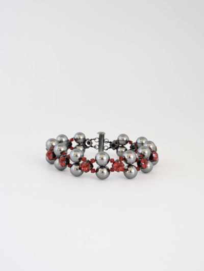grey pearl line bracelet with red swarovski stones