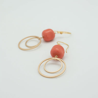 double circle matte gold earrings with coral nuggets
