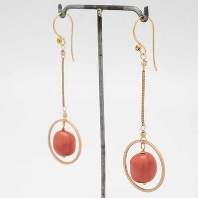 coral nugget + gold circle earrings on chain