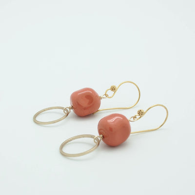 gold circle + coral nugget drop earrings