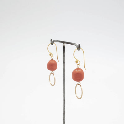 coral + gold circle earrings by vivien walsh ireland