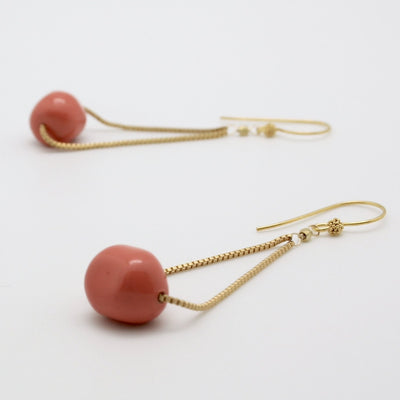 coral nugget and gold chain drop earrings
