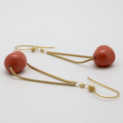 opaque coral + gold floating earrings by vivien walsh