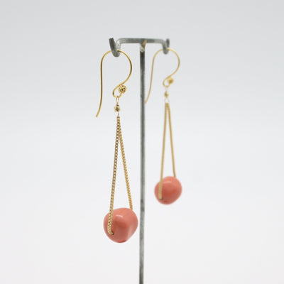 gold box chain drop earrings with coral nuggets