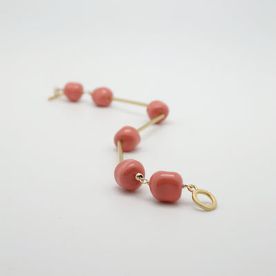 coral nugget bracelet with matte gold tubes