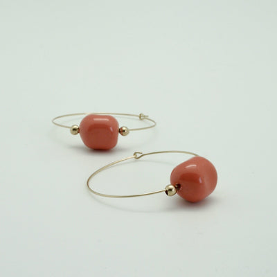 coral and gold large hoop earrings