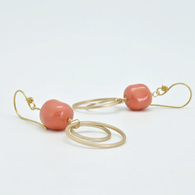 vivien walsh coral and gold circle earrings