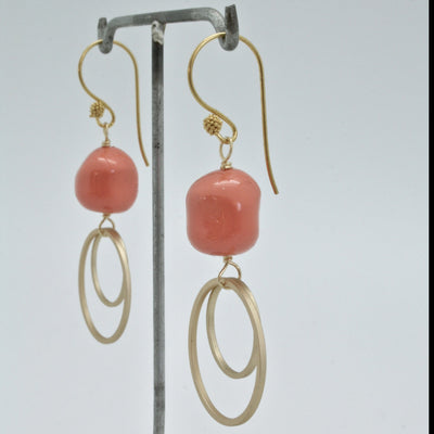 coral and gold double circle earrings