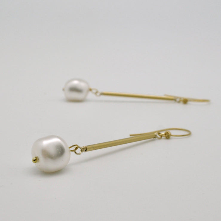 pearl nugget drop earrings with matte gold tubes