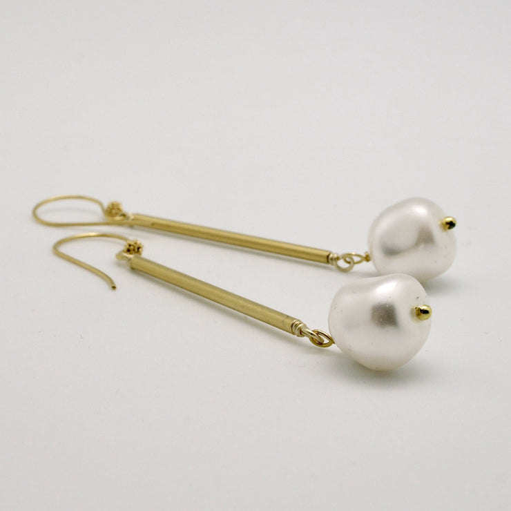 matte gold tube earrings with pearl nugget drops
