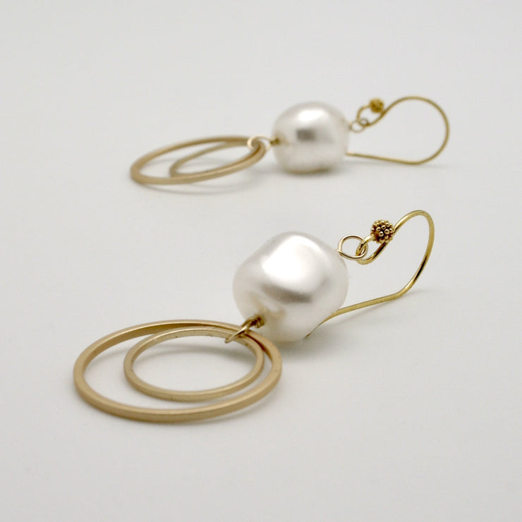 matte gold double circle earrings with pearl nuggets