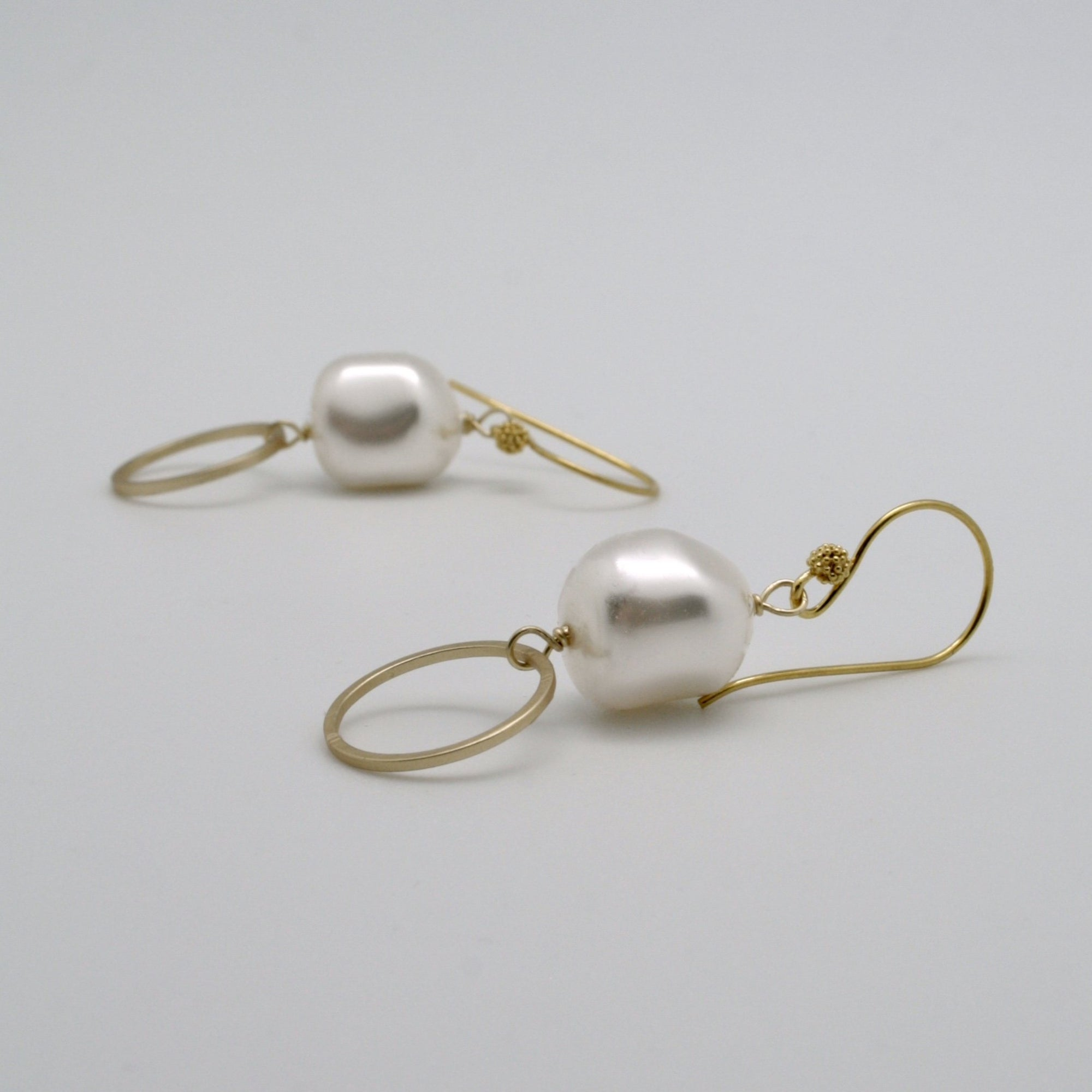 gold circle drop earrings with baroque pearl nugget