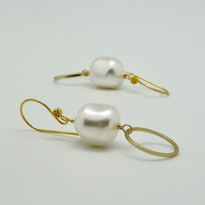 drop earrings with pearl nugget + matte gold circle