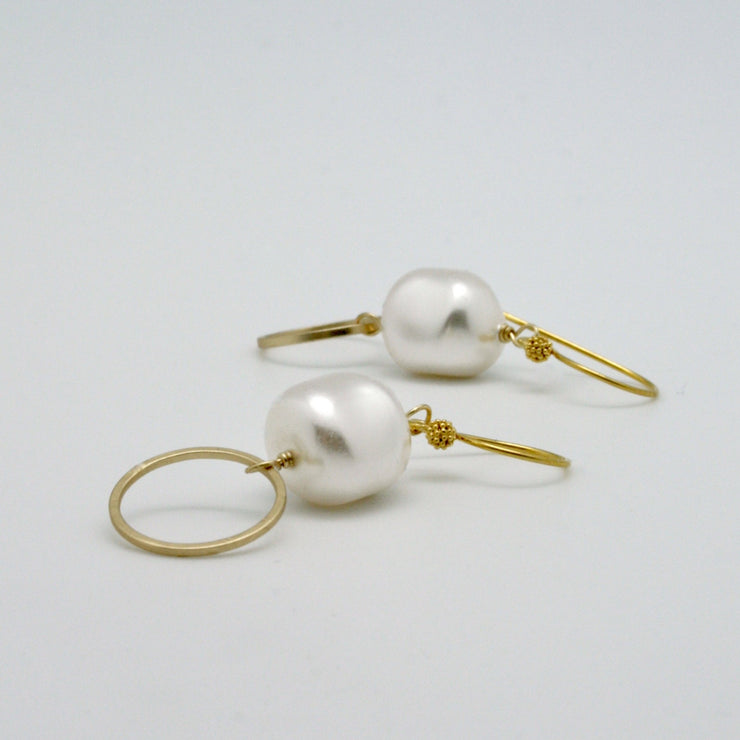 baroque pearl nugget + gold circle drop earrings