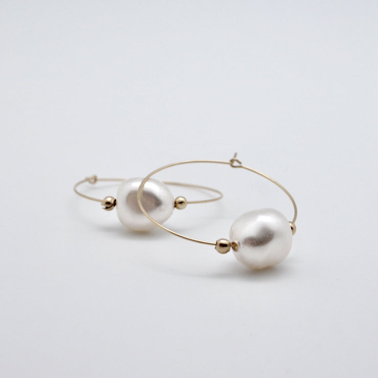 white baroque pearl gold filled hoop earrings by vivien walsh dublin