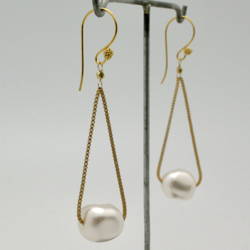 baroque pearl floating earrings on fine gold box chain