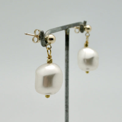 nugget pearl drop earrings on gold filled post by vivien walsh