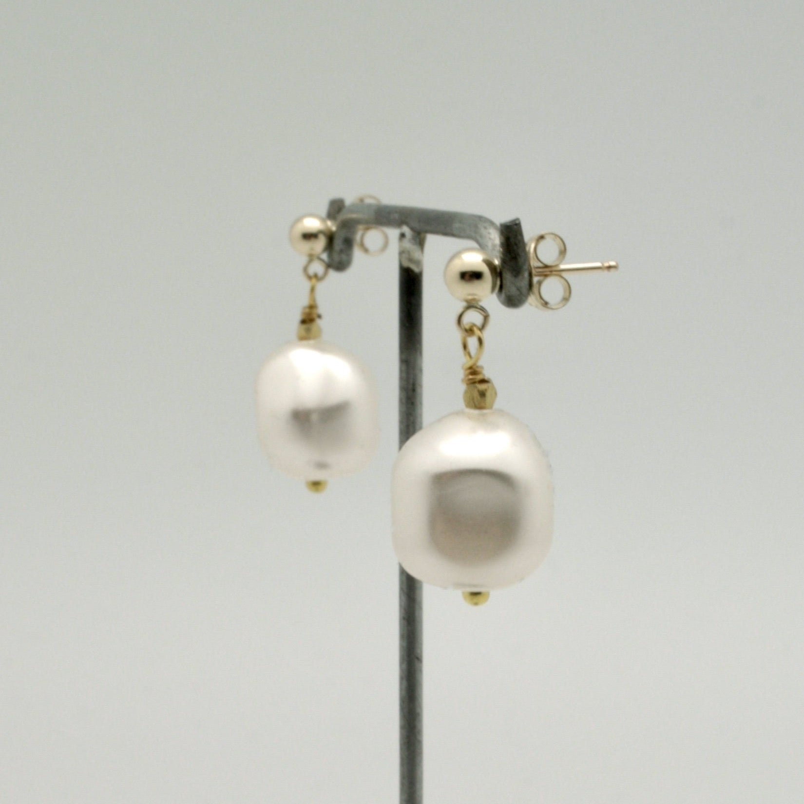 baroque pearl nugget drop earrings by vivien walsh
