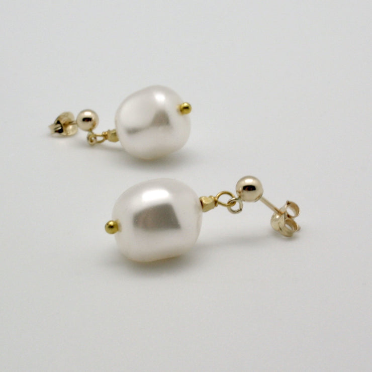 white pearl nugget drop earrings