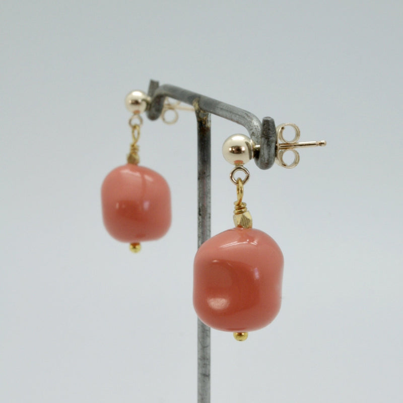 opaque coral nugget drop earrings by vivien walsh