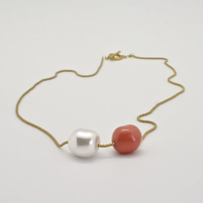 nugget necklace with pearl + coral on fine gold box chain