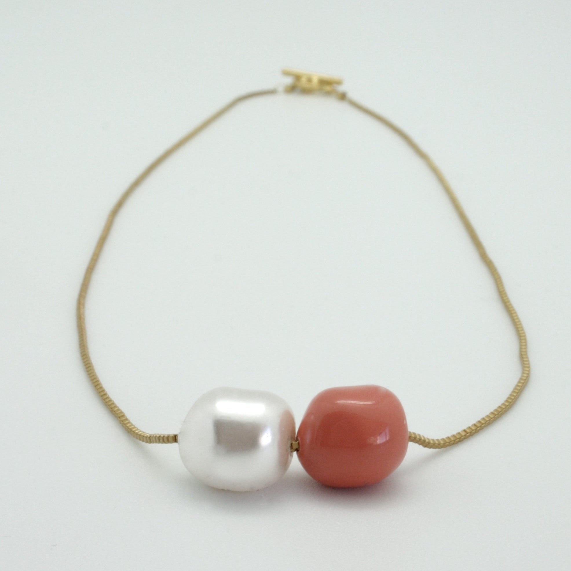 double nugget necklace with pearl + coral