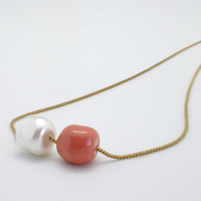 double nugget necklace on gold box chain with pearl + coral