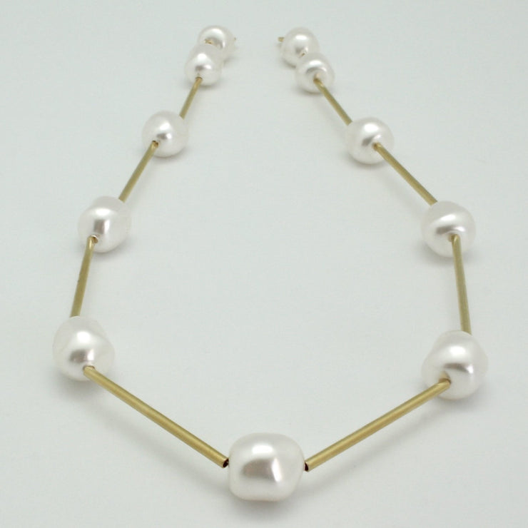 white baroque pearl nugget collar with matte gold tubes