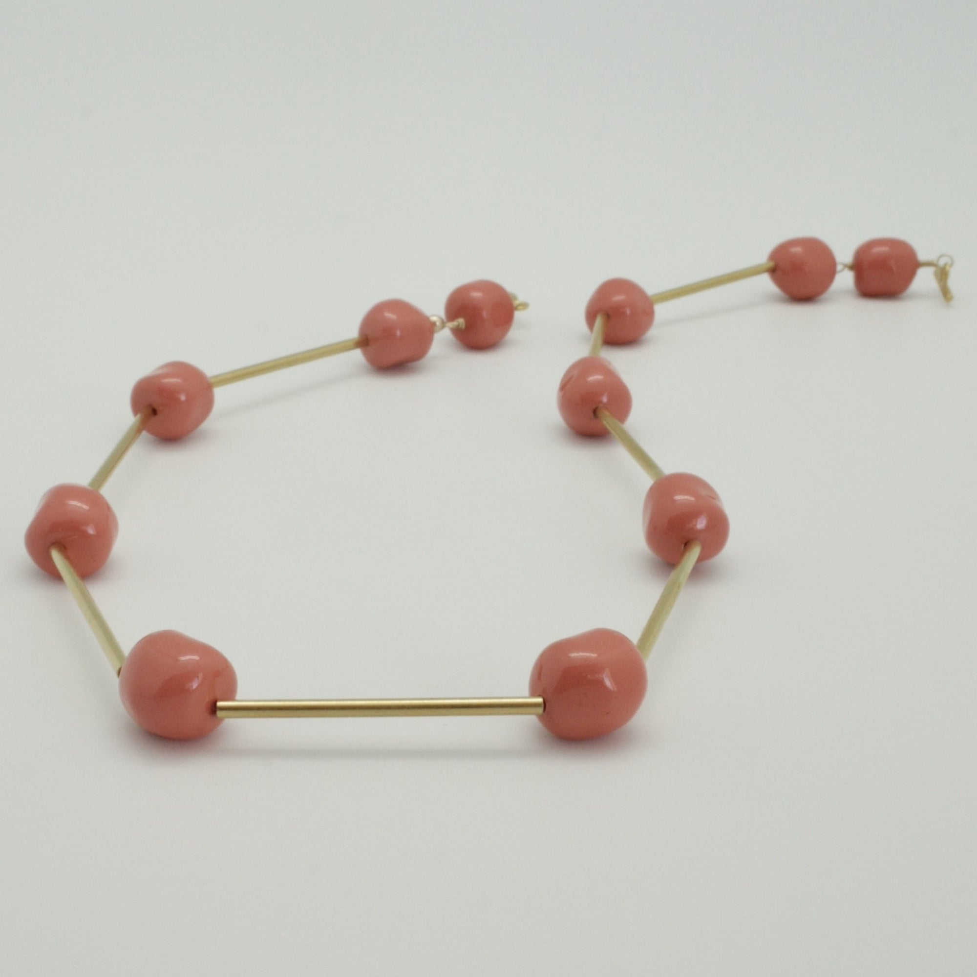 coral nugget collar with matte gold tubes