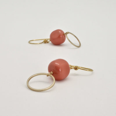 coral nugget circle earrings by vivien walsh